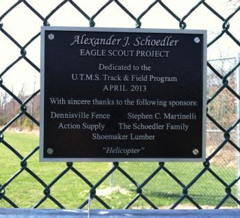 Dennisville-Fence - Alexander-Schoedler Chain Link Dedication Plaque