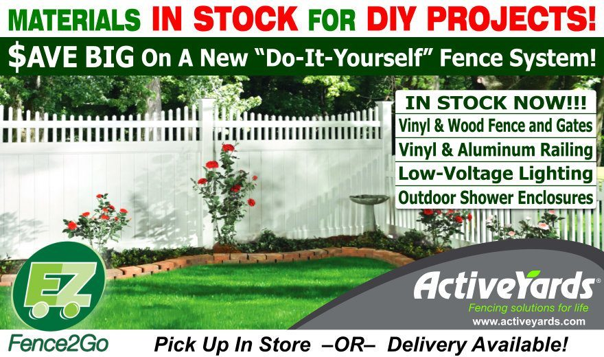 Save Money with a Materials Only Purchase of a New Vinyl or Wood Fence, Vinyl or Aluminum Railing, Low-Voltage Lighting and more! Pick up in store or delivery is available! DIY Projects Save You Money!