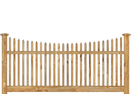 Spaced Picket Wood Fence - Cedar Victorian Scalloped image