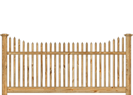 Spaced Picket Wood Fence - Cedar Victorian Stepped image