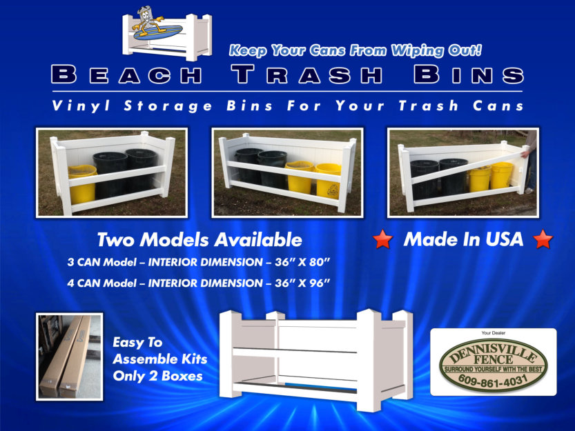 Beach Trash Bins - Outdoor vinyl trash can enclosure image