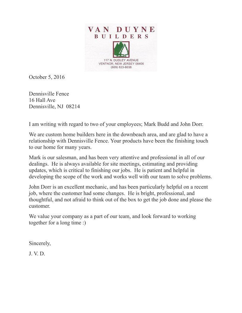 Testimonial Letter praising Dennisville Fence from Van Duyne Builders in Ventnor, NJ