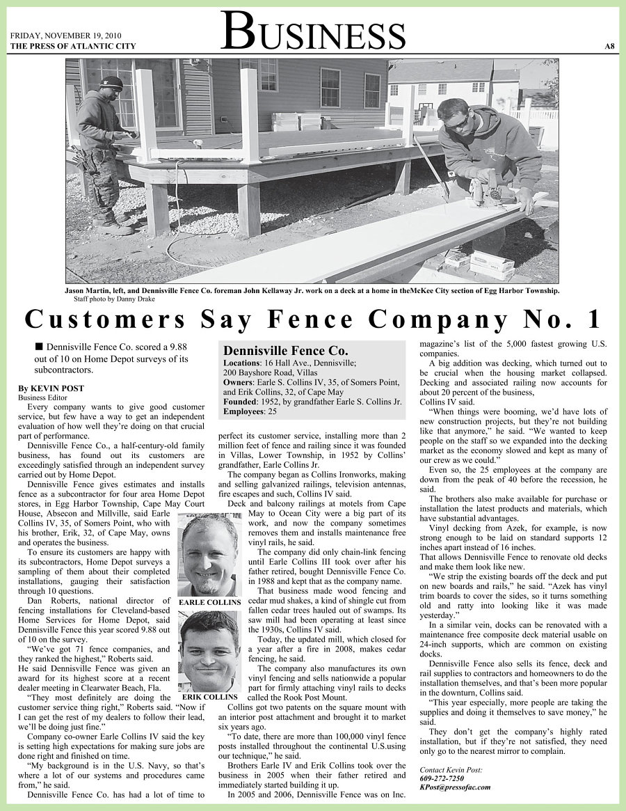 Atlantic City Press article about Dennisville Fence being rated #1 in Customer Satisfaction image