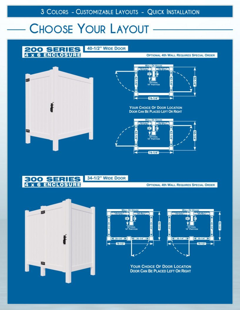 Outdoor Shower Enclosures - Layouts - 200 Series and 300 Series image