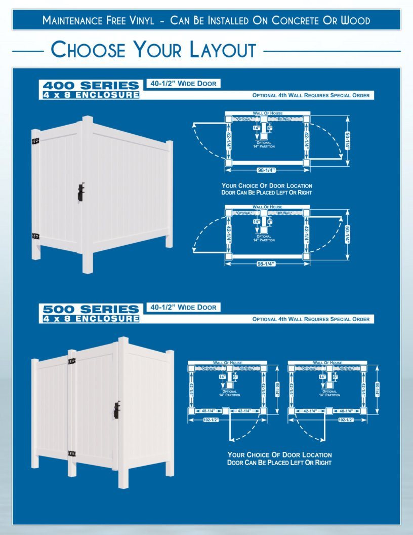 Outdoor Shower Enclosures - Layouts - 400 Series and 500 Series image