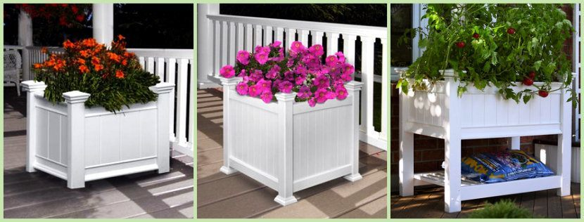 Three Planter Boxes shown in white image