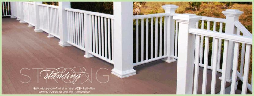 AZEK Railing in white on back deck image