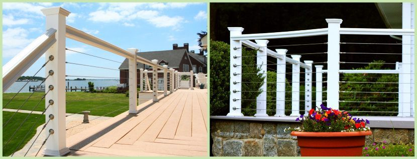 Cable Railing Installed on a deck and porch balcony images