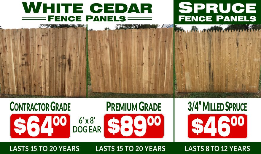 White Cedar and Milled Spruce Fence Panels for sale at Dennisville Fence