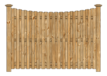Board On Board Wood Fence - Cedar Single Concave Virginian W2126 - image