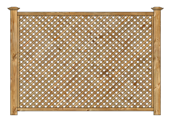 Cedar Diagonal Lattice Panel Wood Fence W1000 - image