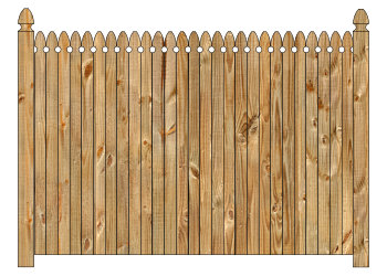 Wood fence, cedar straight georgian - w140, privacy fence section image
