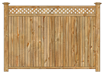 Wood fence, cedar tongue and groove with diagonal lattice privacy fence section image