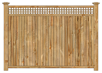 Wood fence, cedar tongue and groove with square lattice privacy fence section image