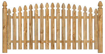 Spaced Picket Wood Fence - Cedar Single Convex Georgian W445 - image