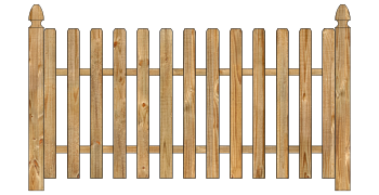 Spaced Picket Wood Fence - Cedar Straight Contemporary W152 - image