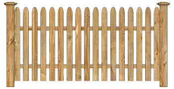 Spaced Picket Wood Fence - Cedar Straight Simplicity W135 - image