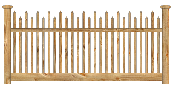 Spaced Picket Wood Fence - Cedar Victorian Alternating Picket W830 - image