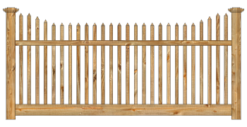 Spaced Picket Wood Fence - Cedar Victorian Straight Picket W810 - image
