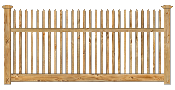 Spaced Picket Wood Fence - Cedar Victorian Straight Picket W800 - image