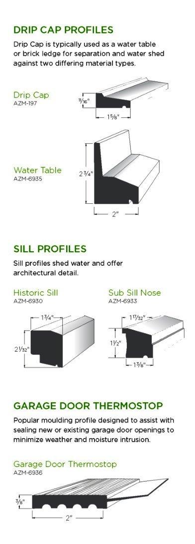 AZEK Moulding Drip Cap Profiles image