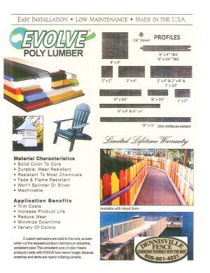 Brochure Cover -- Evolve Poly Lumber