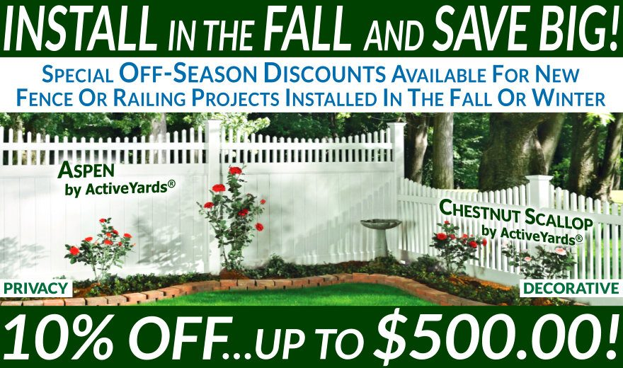 Install In The Fall and Save On New Fence And Railing Projects