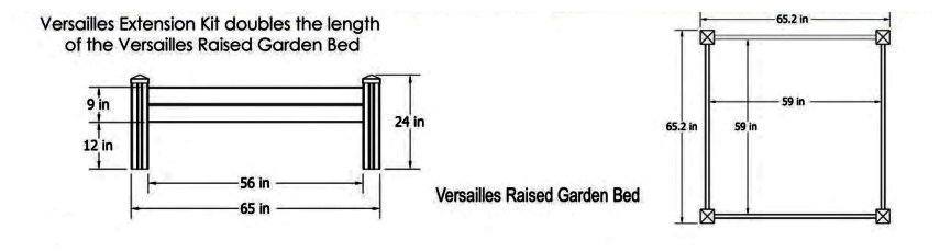 Versailles Raised Garden Bed schematic image