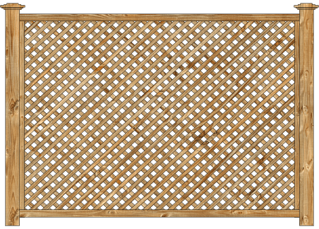 Framed Lattice Panels Wood Fence - Cedar Diagonal Lattice image