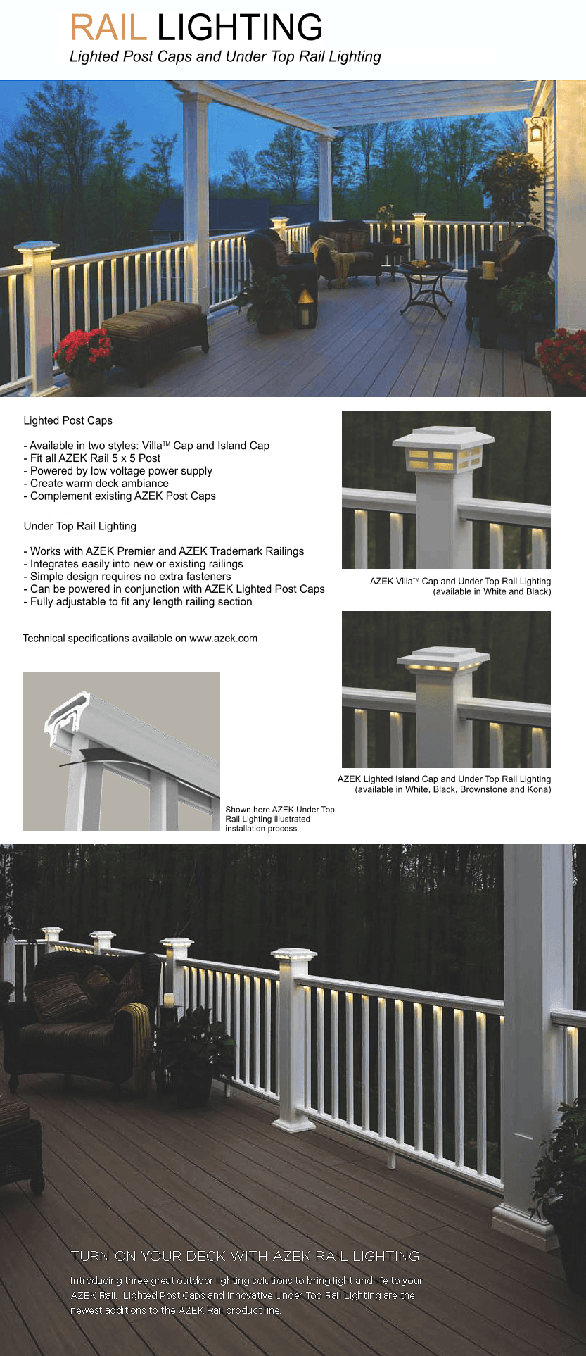 AZEK Railing Rail Lighting image