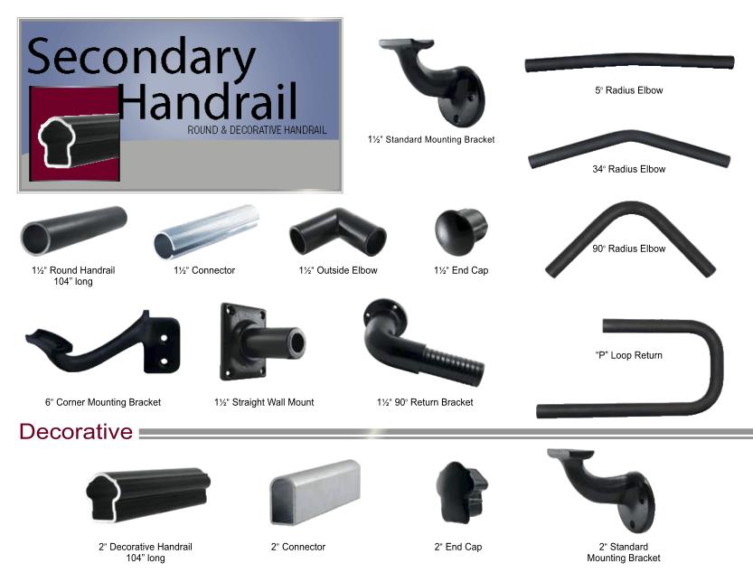 Aluminum Railing Secondary Handrail image 01