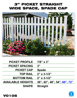 "Vinyl Fence - Legacy Open Top Picket - 3"" Picket Straight Wide Space with Spade Cap image"