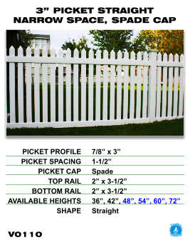"Vinyl Fence - Legacy Open Top Picket - 3"" Picket Straight Narrow Space with Spade Cap image"