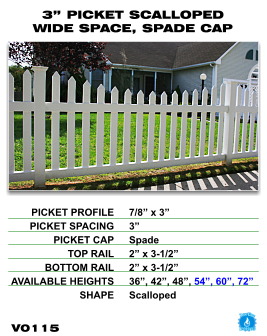 """Vinyl Fence - Legacy Open Top Picket - 3"""" Picket Scalloped Wide Space with Spade Cap image"""