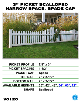 "Vinyl Fence - Legacy Open Top Picket - 3"" Picket Scalloped Narrow Space with Spade Cap image"