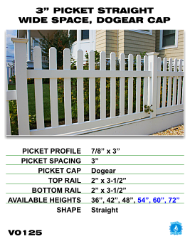 "Vinyl Fence - Legacy Open Top Picket - 3"" Picket Straight Wide Space with Dog Ear Cap image"