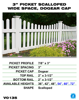 "Vinyl Fence - Legacy Open Top Picket - 3"" Picket Scalloped Wide Space with Dog Ear Cap image"