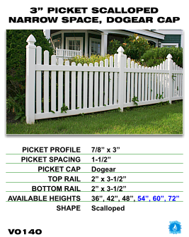 "Vinyl Fence - Legacy Open Top Picket - 3"" Picket Scalloped Narrow Space with Dog Ear Cap image"