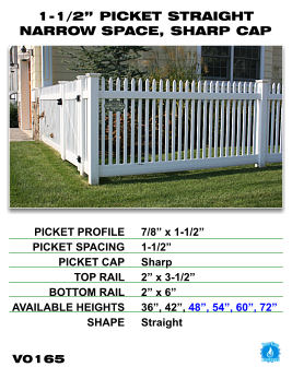 "Vinyl Fence - Legacy Open Top Picket - 1-1/2"" Picket Straight Narrow Space with Sharp Cap image"