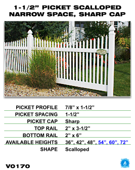 "Vinyl Fence - Legacy Open Top Picket - 1-1/2"" Picket Scalloped Narrow Space with Sharp Cap image"