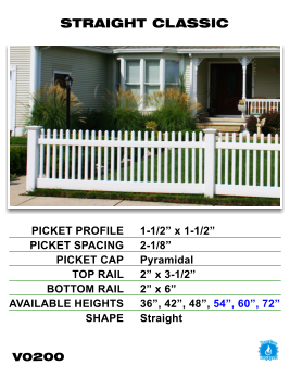 Vinyl Fence - Legacy Open Top Picket - Straight Classic image