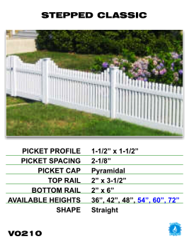 Vinyl Fence - Legacy Open Top Picket - Stepped Classic image