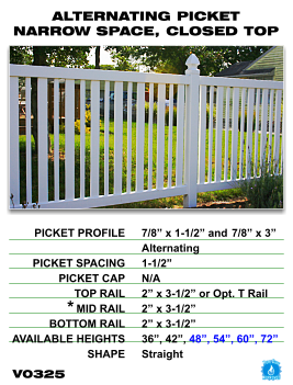 Vinyl Fence - Legacy Closed Top Picket - Alternating Picket Narrow Space with Closed Top image