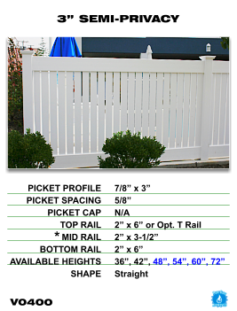 """Vinyl Fence - Legacy Semi-Privacy - 3"""" Semi-Privacy Fence Section image"""