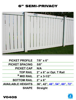 "Vinyl Fence - Legacy Semi-Privacy - 6"" Semi-Privacy Fence Section image"