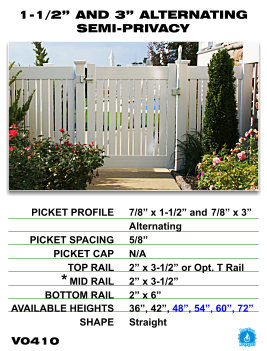 "Legacy Vinyl Fence - 1-1/2"" and 3"" Alternating Semi-Privacy Fence Section"