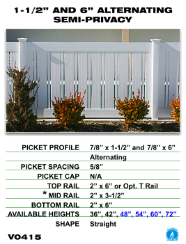 "Legacy Vinyl Fence - 1-1/2"" and 6"" Alternating Semi-Privacy Fence Section"