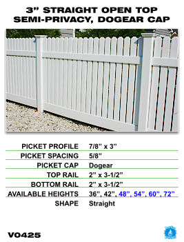"Legacy Vinyl Fence - 3"" Straight Open Top Semi-Privacy Fence Section with Dog Ear Cap image"