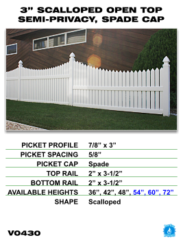 "Legacy Vinyl Fence - 3"" Scalloped Open Top Semi-Privacy Fence Section with Spade Cap image"