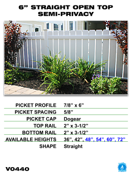 "Legacy Vinyl Fence - 6"" Straight Open Top Semi-Privacy Fence Section image"